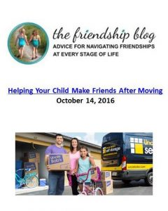 Ali Wenzkes gives tips on how to help your child make friends after moving. The Art of Happy Moving. www.artofhappymoving.com